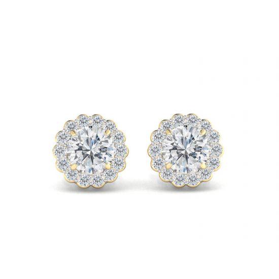 Серьги пусеты с бриллиантами в форме цветка,  Больше Изображение 4