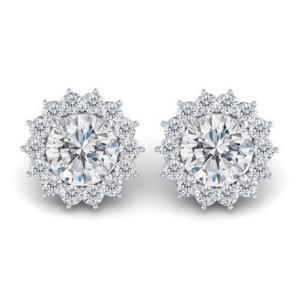 Серьги пусеты с бриллиантами в стиле малинка