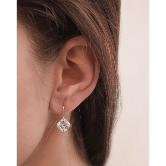 Серьги на петле с бриллиантами «ашер»,  Больше Изображение 2