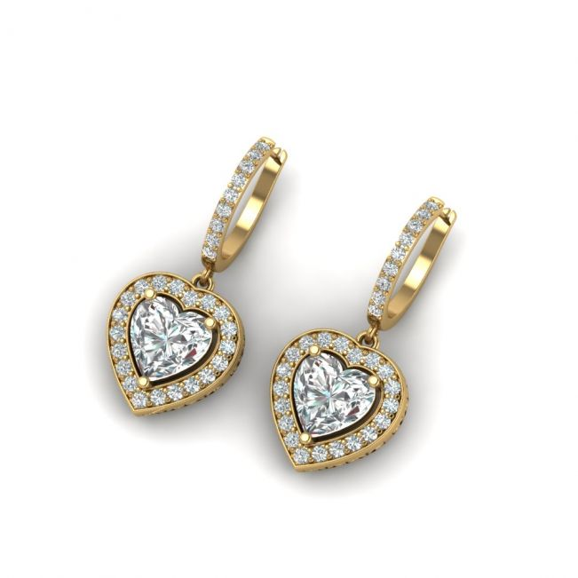 Серьги висячие с бриллиантами в форме сердца с паве