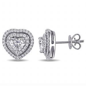 Пусеты с бриллиантами в форме сердца в двойном ореоле