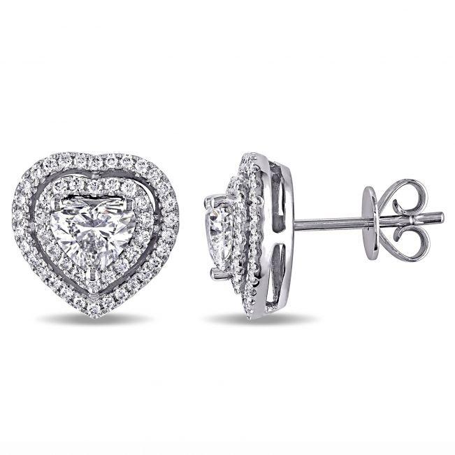 Пусеты с бриллиантами в форме сердца в ореоле
