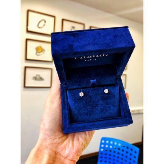 Серьги пусеты с бриллиантами в 6 крапанах,  Больше Изображение 5