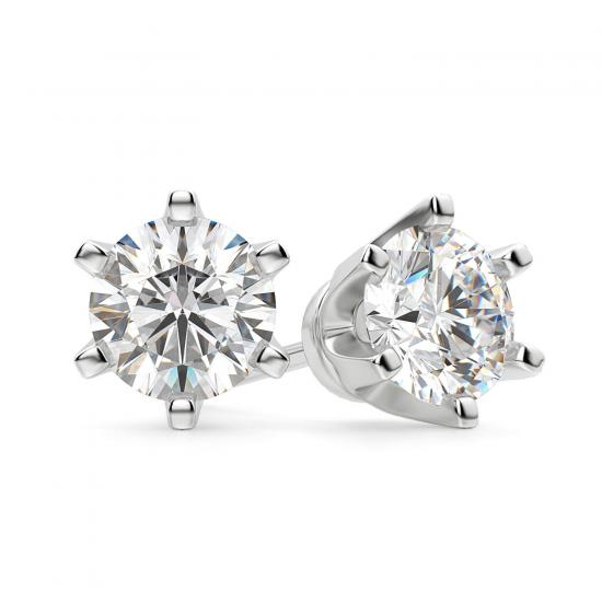 Серьги пусеты с бриллиантами, Больше Изображение 1