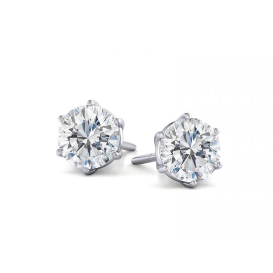 Серьги пусеты с бриллиантами,  Больше Изображение 2