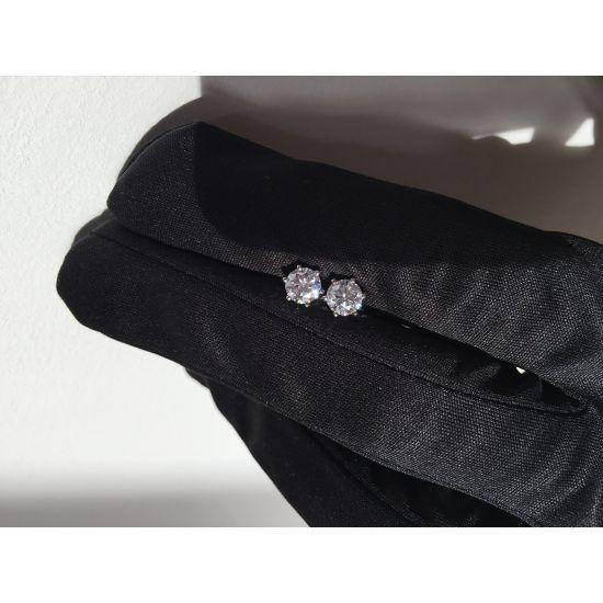 Серьги пусеты с бриллиантами,  Больше Изображение 5