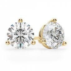 Серьги пусеты с круглыми бриллиантами 3 лапках| 3806
