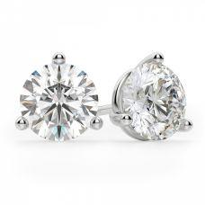 Серьги пусеты с круглыми бриллиантами 3 лапках
