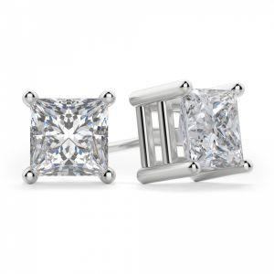 Пусеты с квадратными бриллиантами Принцесса