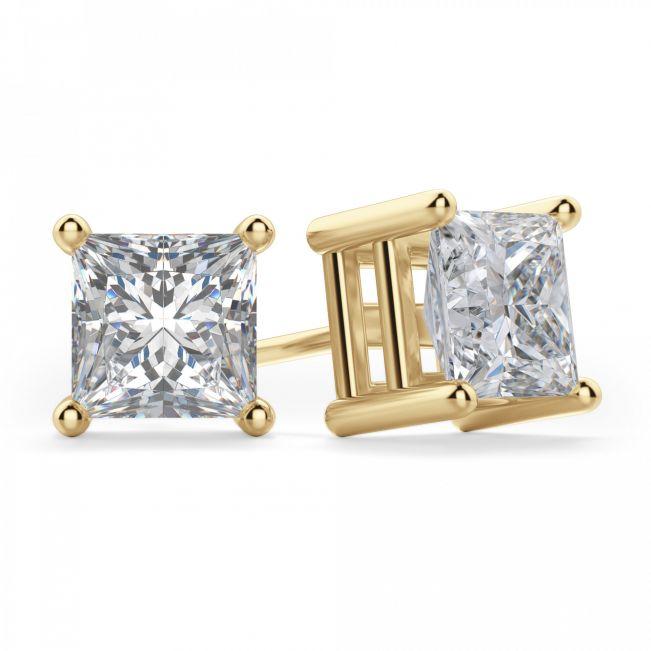 Пусеты с квадратными бриллиантами