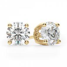 Серьги пусеты с круглыми бриллиантами | 3808