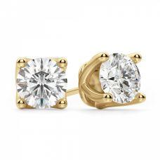 Серьги пусеты с круглыми бриллиантами на заказ | 3810
