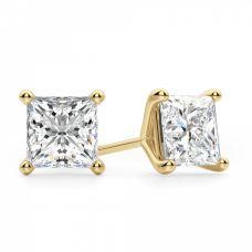 Пусеты с белыми квадратными бриллиантами