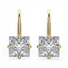 Серьги на петле с квадратными бриллиантами