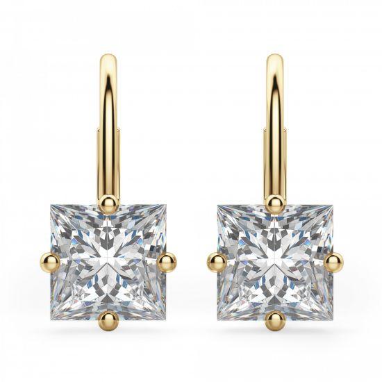 Серьги на петле с квадратными бриллиантами, Больше Изображение 1
