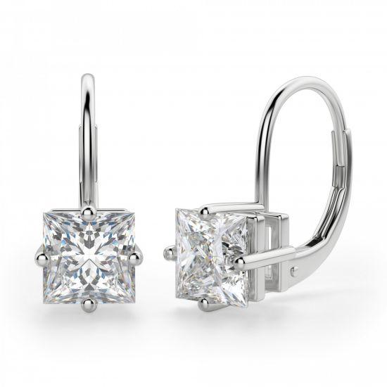Серьги на петле с бриллиантами Принцесса,  Больше Изображение 3