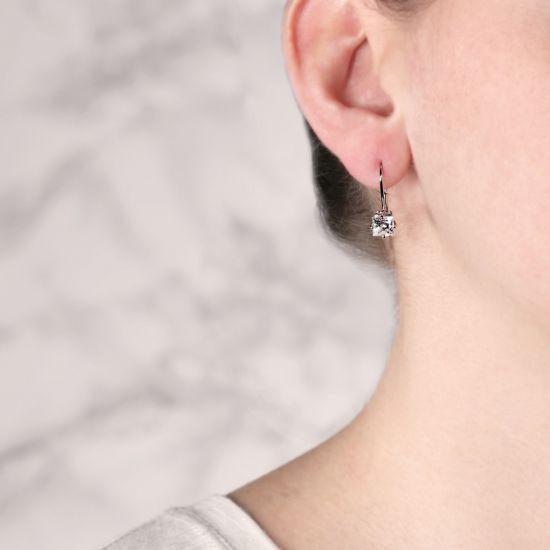 Серьги на петле с квадратными бриллиантами,  Больше Изображение 3