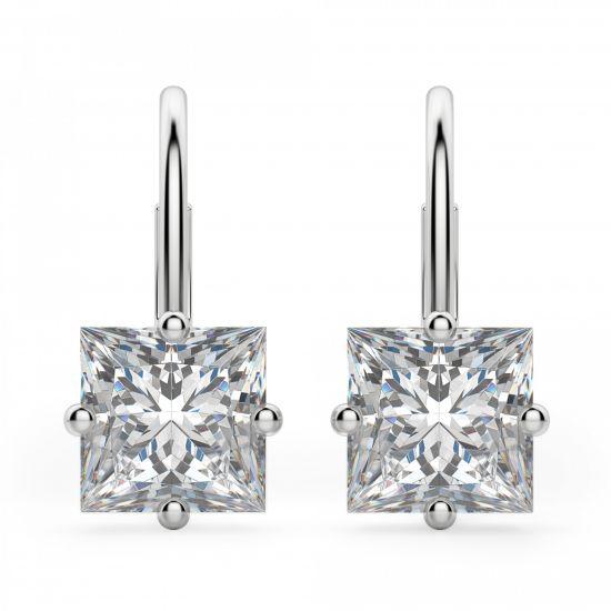 Серьги на петле с бриллиантами Принцесса, Больше Изображение 1