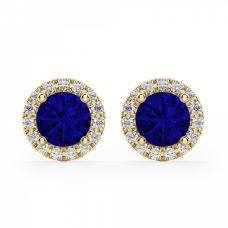 Серьги с синими сапфирами и бриллиантами | 3824