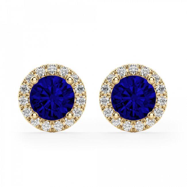 Серьги с синими сапфирами и бриллиантами