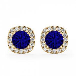 Серьги с синими сапфирами в ореоле из бриллиантов