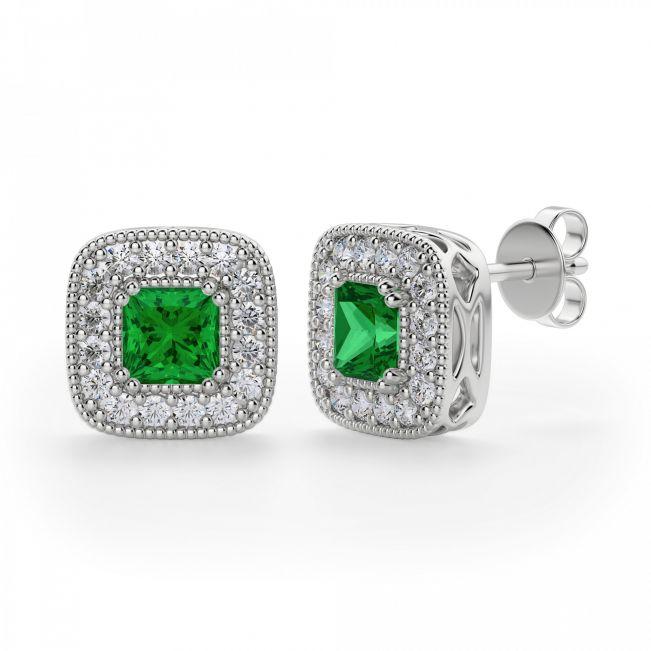 Серьги с изумрудами в обрамлении бриллиантов - Фото 1