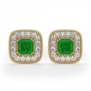 Серьги с изумрудами в обрамлении бриллиантов
