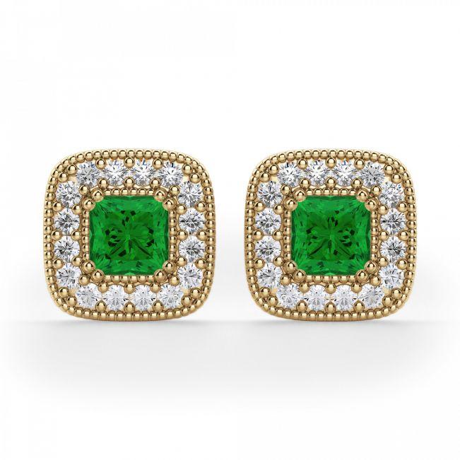 Серьги с изумрудами в обрамлении бриллиантов - Фото 2