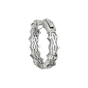 Оригинальные серьги кольца с изумрудами и бриллиантами