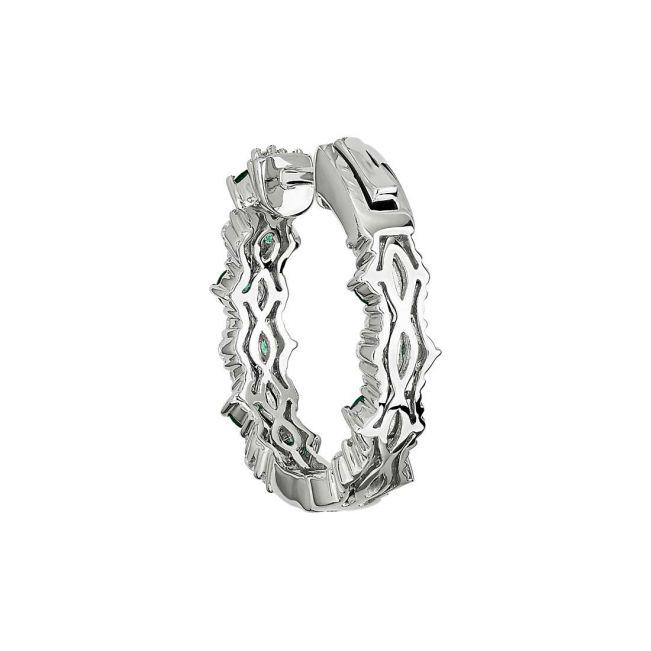 Оригинальные серьги кольца с изумрудами и бриллиантами - Фото 2