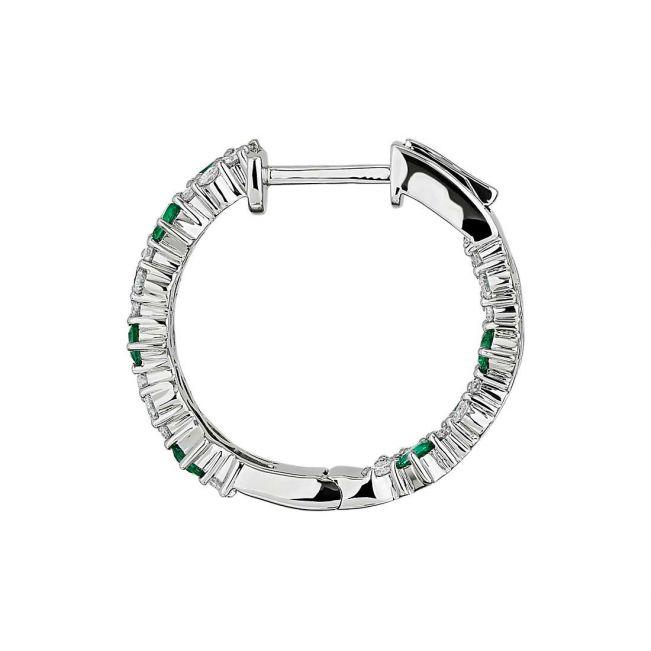 Оригинальные серьги кольца с изумрудами и бриллиантами - Фото 1