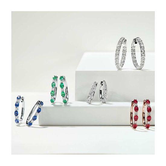 Серьги колечки с овальными сапфирами и бриллиантами,  Больше Изображение 5