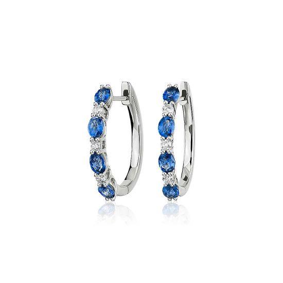 Серьги колечки с овальными сапфирами и бриллиантами, Больше Изображение 1