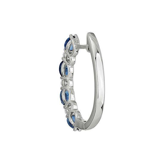 Серьги колечки с овальными сапфирами и бриллиантами,  Больше Изображение 3