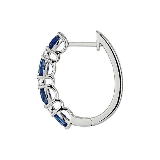 Серьги колечки с овальными сапфирами и бриллиантами,  Больше Изображение 2