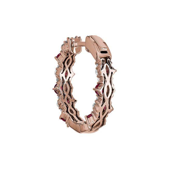 Оригинальные серьги колечки с рубинами и бриллиантами