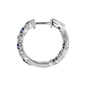 Оригинальные серьги кольца с сапфирами и бриллиантами