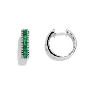 Серьги кольца с изумрудами и бриллиантами
