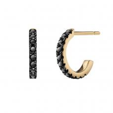 Серьги колечки с черными бриллиантами