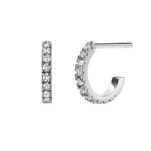 Серьги мини колечки с бриллиантами