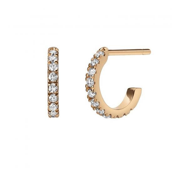 Маленькие серьги колечки с бриллиантами, Больше Изображение 1