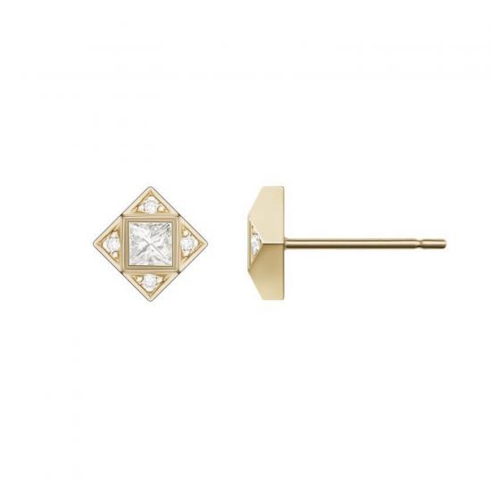 Серьги геометричные пусеты с бриллиантами, Больше Изображение 1