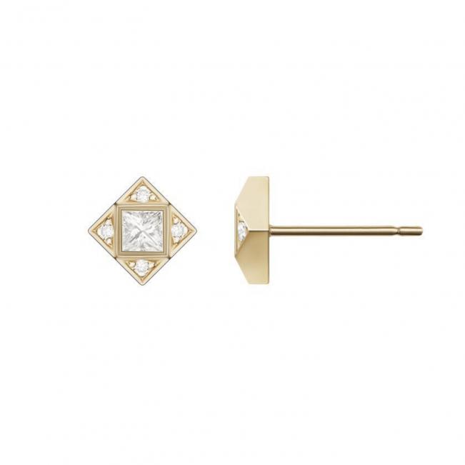 Серьги геометричные пусеты с бриллиантами