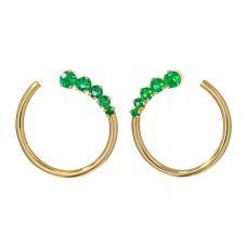 Дизайнерские серьги кольца с изумрудами