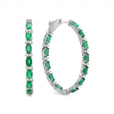 Серьги кольца 3 см с изумрудами и бриллиантами