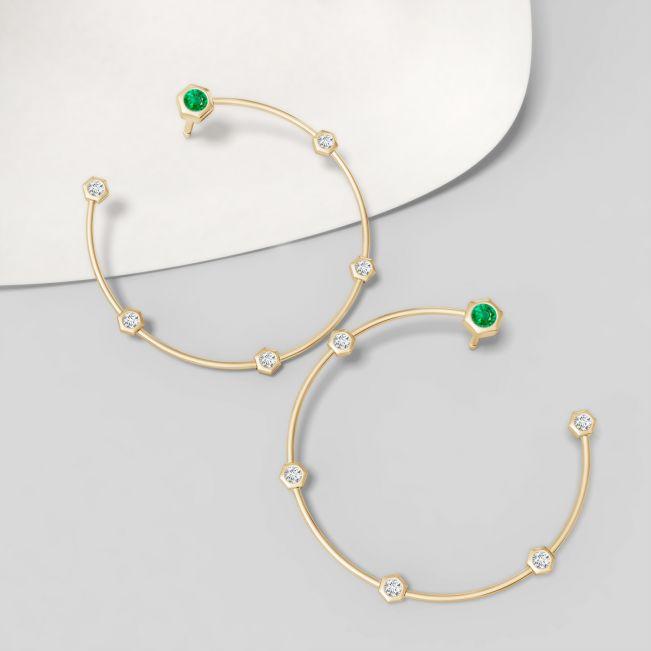 Серьги кольца с бриллиантами и изумрудом Miel