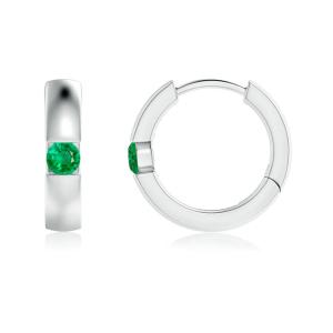 Серьги кольца с изумрудами