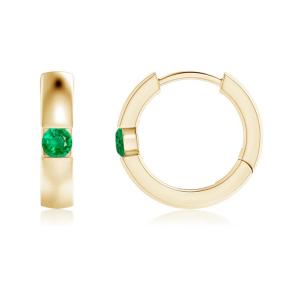Серьги золотые кольца с изумрудами
