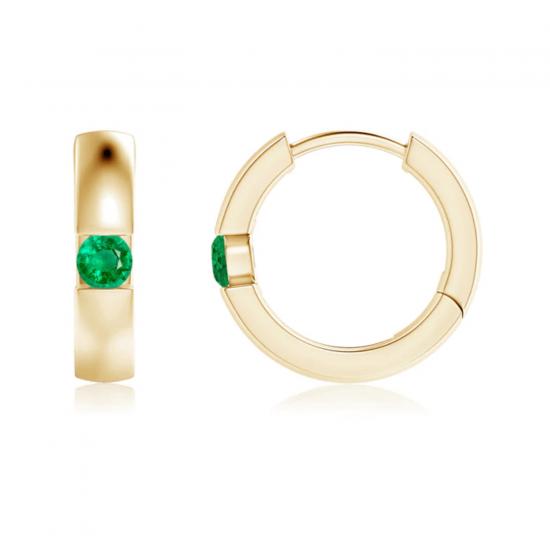 Серьги золотые кольца с изумрудами, Больше Изображение 1