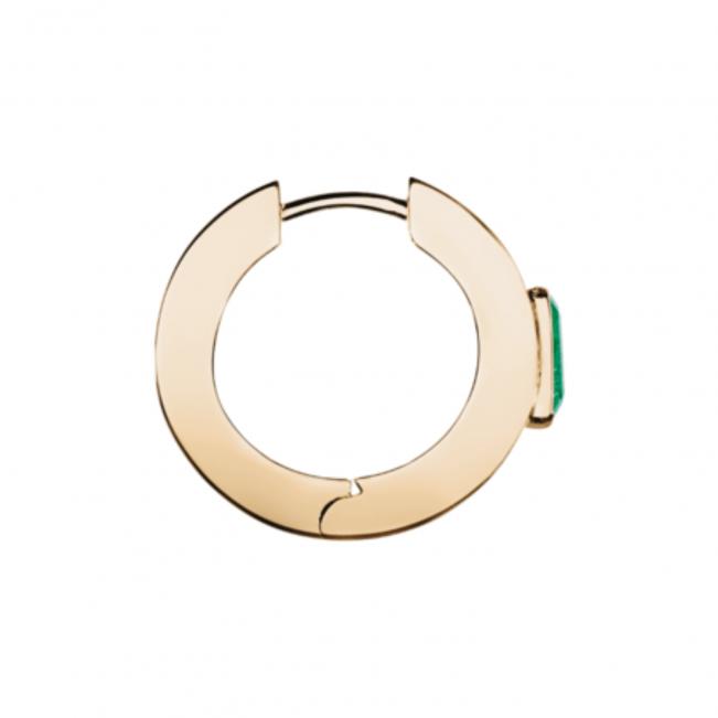Серьги кольца с прямоугольными изумрудами